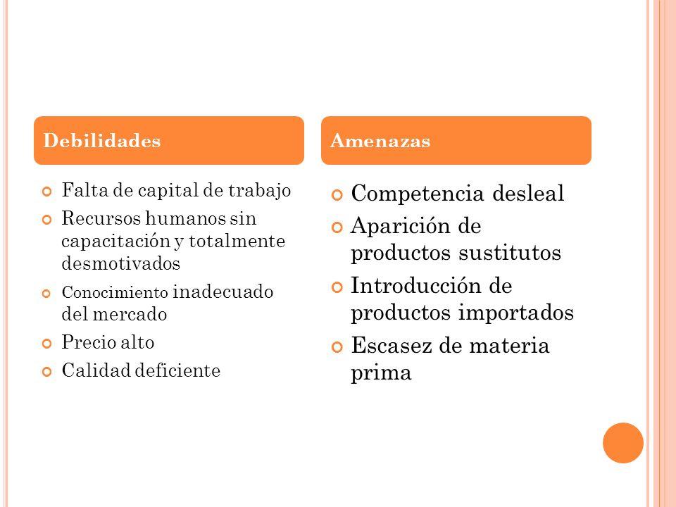 Falta de capital de trabajo Recursos humanos sin capacitación y totalmente desmotivados Conocimiento inadecuado del mercado Precio alto Calidad defici