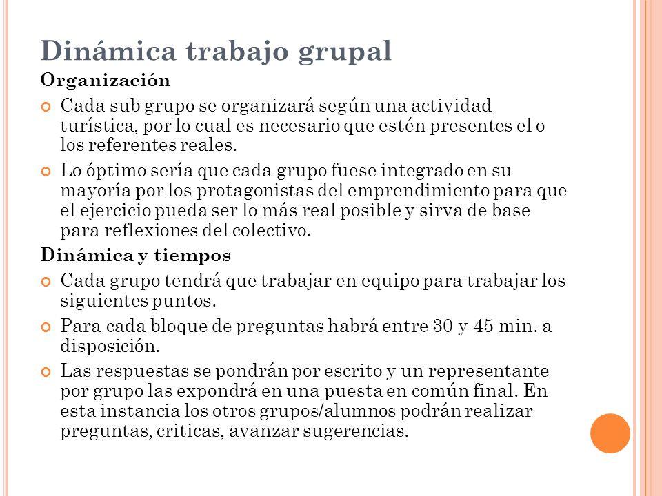 Dinámica trabajo grupal Organización Cada sub grupo se organizará según una actividad turística, por lo cual es necesario que estén presentes el o los referentes reales.