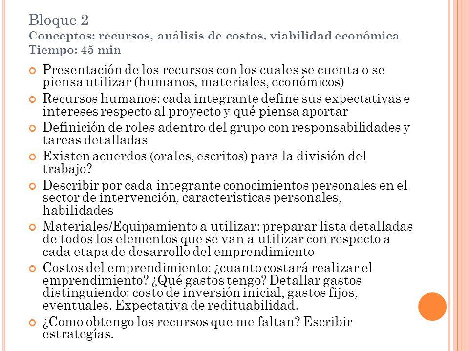 Bloque 2 Conceptos: recursos, análisis de costos, viabilidad económica Tiempo: 45 min Presentación de los recursos con los cuales se cuenta o se piens