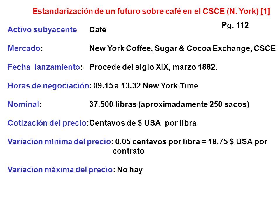 Activo subyacenteCafé Mercado:New York Coffee, Sugar & Cocoa Exchange, CSCE Fecha lanzamiento:Procede del siglo XIX, marzo 1882.