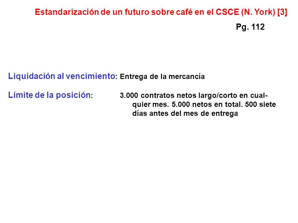 Liquidación al vencimiento :Entrega de la mercancía Límite de la posición :3.000 contratos netos largo/corto en cual- quier mes.