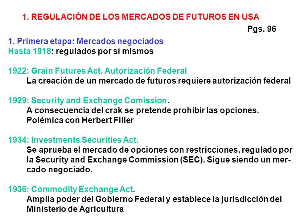 1. REGULACIÓN DE LOS MERCADOS DE FUTUROS EN USA 1.