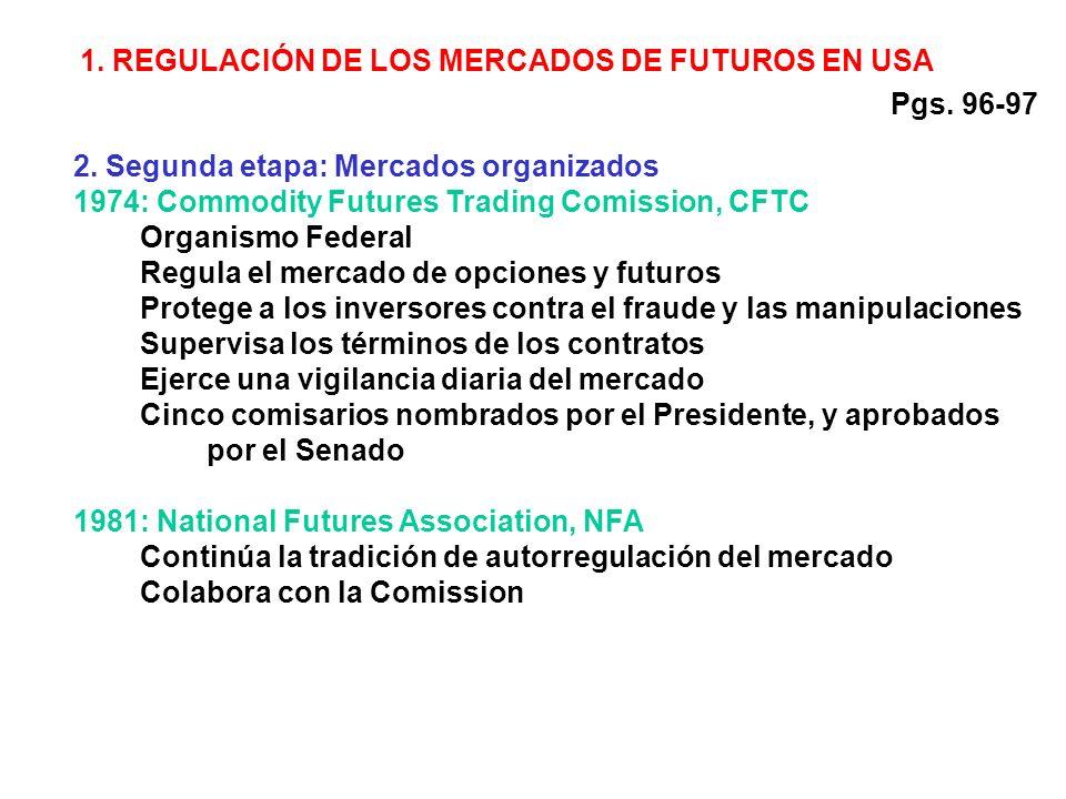 2. Segunda etapa: Mercados organizados 1974: Commodity Futures Trading Comission, CFTC Organismo Federal Regula el mercado de opciones y futuros Prote