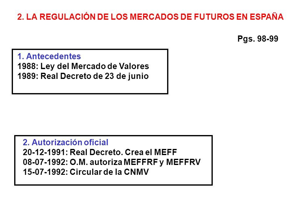 2. LA REGULACIÓN DE LOS MERCADOS DE FUTUROS EN ESPAÑA 1.