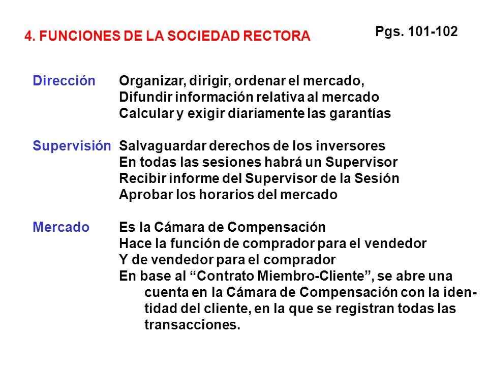 4. FUNCIONES DE LA SOCIEDAD RECTORA DirecciónOrganizar, dirigir, ordenar el mercado, Difundir información relativa al mercado Calcular y exigir diaria