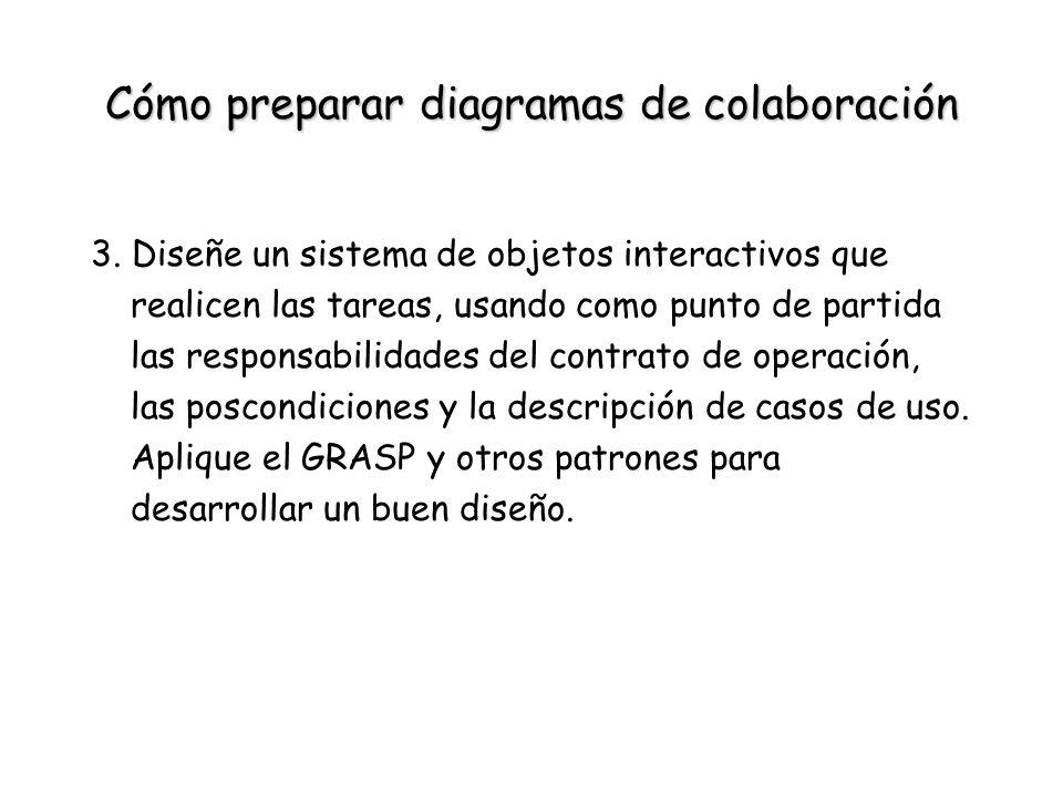 Cómo preparar diagramas de colaboración 3. Diseñe un sistema de objetos interactivos que realicen las tareas, usando como punto de partida las respons