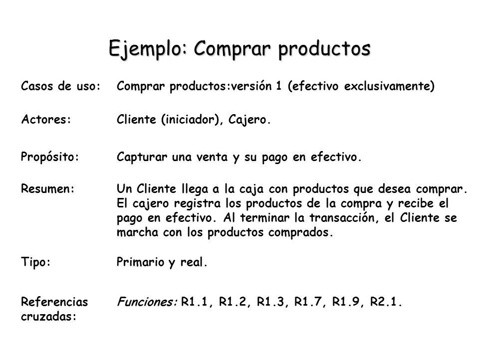 Ejemplo: Comprar productos Casos de uso:Comprar productos:versión 1 (efectivo exclusivamente) Actores:Cliente (iniciador), Cajero. Propósito:Capturar