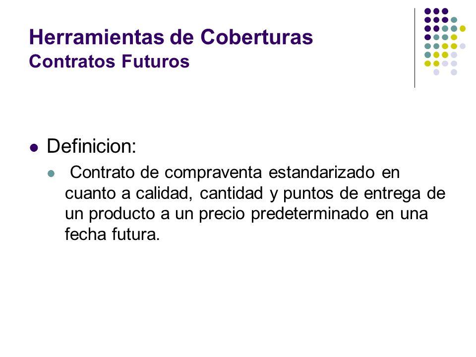 Herramientas de Coberturas Contratos Futuros Definicion: Contrato de compraventa estandarizado en cuanto a calidad, cantidad y puntos de entrega de un