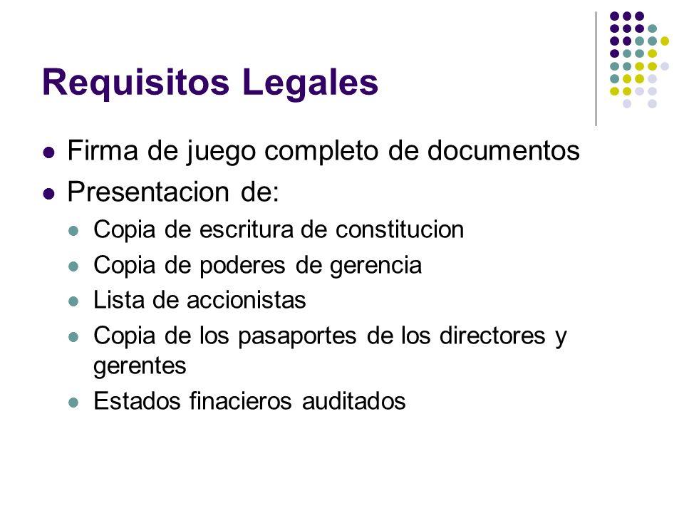 Requisitos Legales Firma de juego completo de documentos Presentacion de: Copia de escritura de constitucion Copia de poderes de gerencia Lista de acc