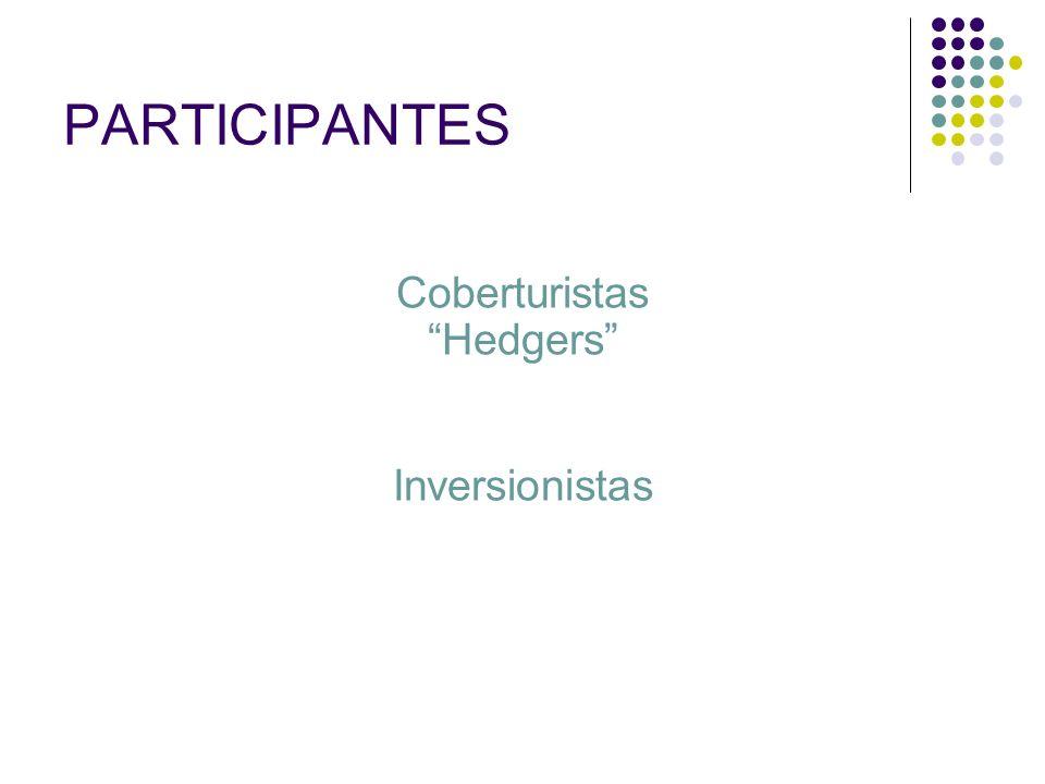 PARTICIPANTES Coberturistas Hedgers Inversionistas