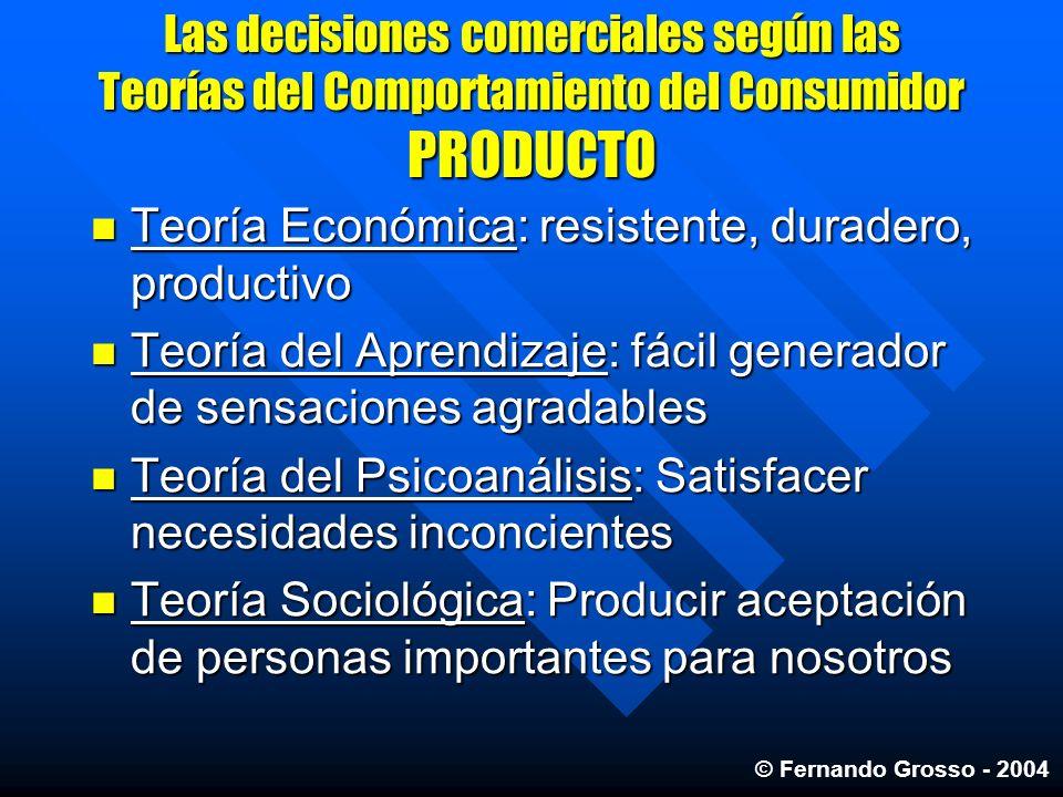 Las decisiones comerciales según las Teorías del Comportamiento del Consumidor PRODUCTO Teoría Económica: resistente, duradero, productivo Teoría Econ