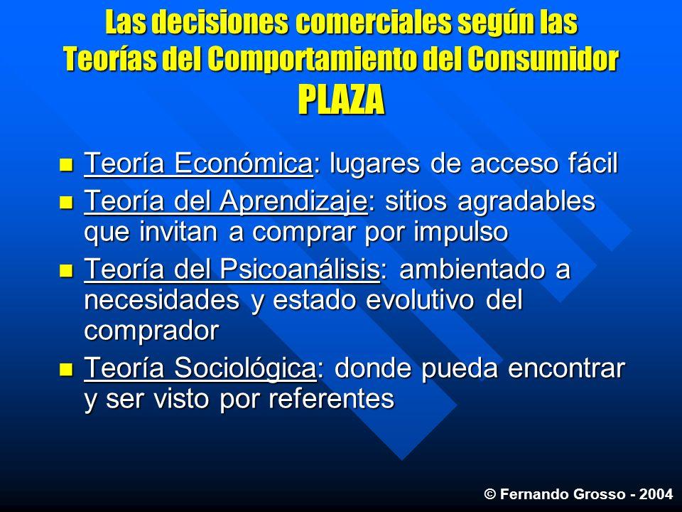 Las decisiones comerciales según las Teorías del Comportamiento del Consumidor PLAZA Teoría Económica: lugares de acceso fácil Teoría Económica: lugar