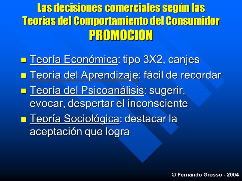Las decisiones comerciales según las Teorías del Comportamiento del Consumidor PROMOCION Teoría Económica: tipo 3X2, canjes Teoría Económica: tipo 3X2