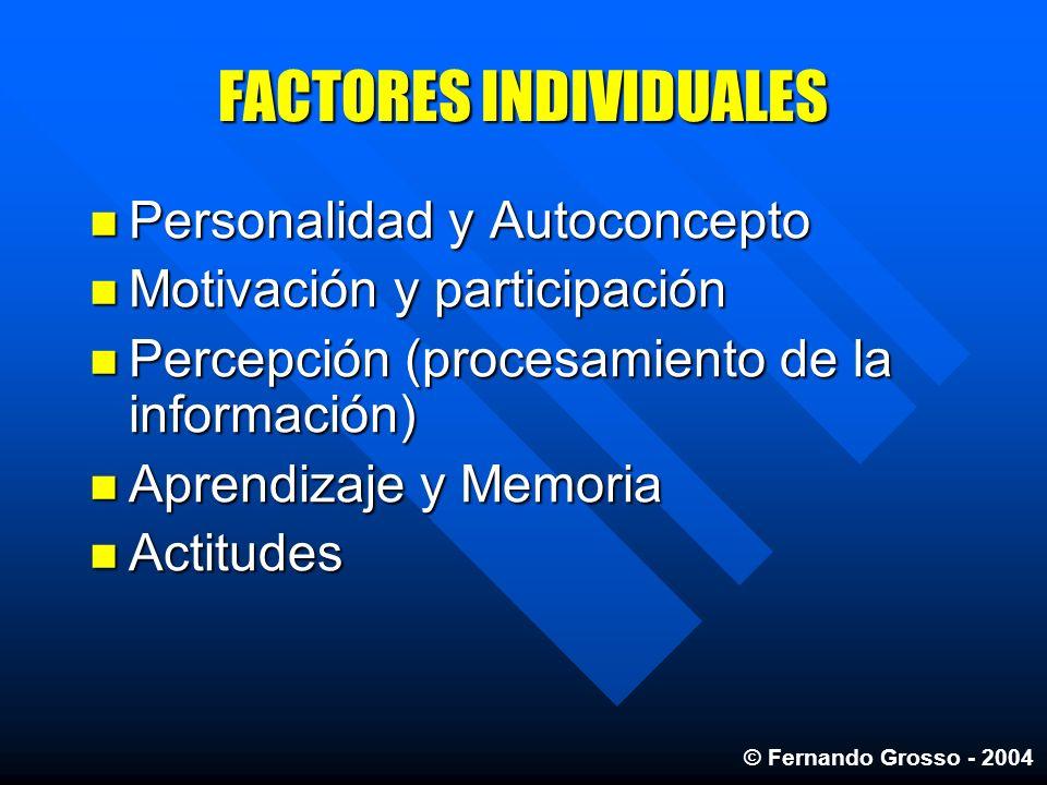 FACTORES INDIVIDUALES Personalidad y Autoconcepto Personalidad y Autoconcepto Motivación y participación Motivación y participación Percepción (proces