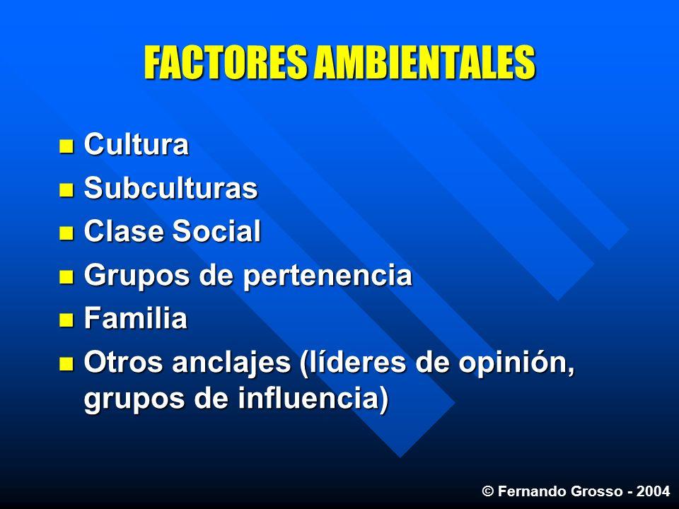 FACTORES AMBIENTALES Cultura Cultura Subculturas Subculturas Clase Social Clase Social Grupos de pertenencia Grupos de pertenencia Familia Familia Otr