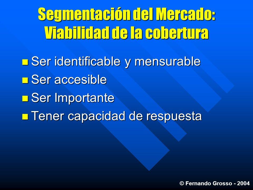 Segmentación del Mercado: Viabilidad de la cobertura Ser identificable y mensurable Ser identificable y mensurable Ser accesible Ser accesible Ser Imp