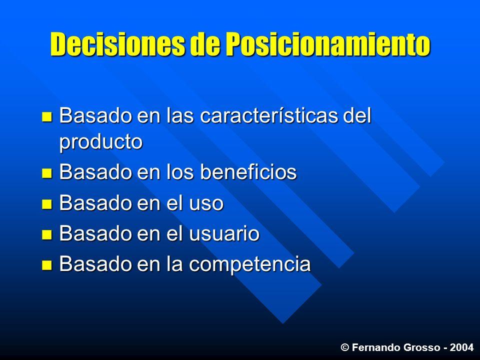 Decisiones de Posicionamiento Basado en las características del producto Basado en las características del producto Basado en los beneficios Basado en
