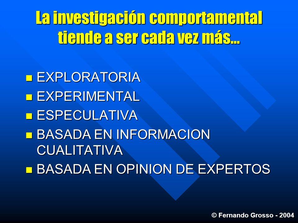 La investigación comportamental tiende a ser cada vez más... EXPLORATORIA EXPLORATORIA EXPERIMENTAL EXPERIMENTAL ESPECULATIVA ESPECULATIVA BASADA EN I