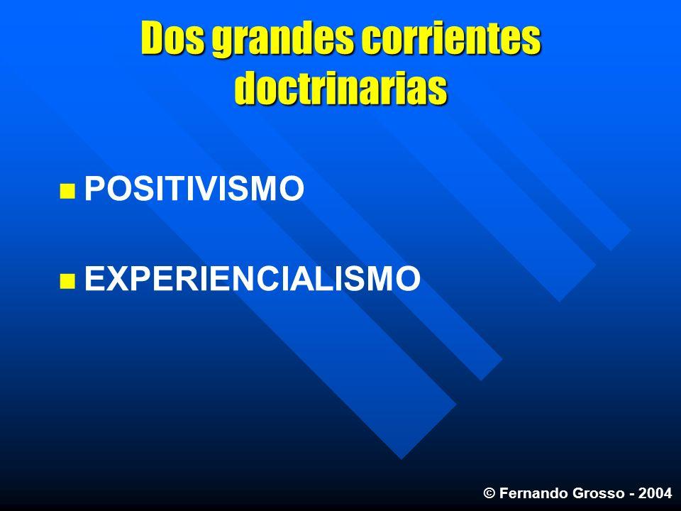 Dos grandes corrientes doctrinarias POSITIVISMO EXPERIENCIALISMO © Fernando Grosso - 2004