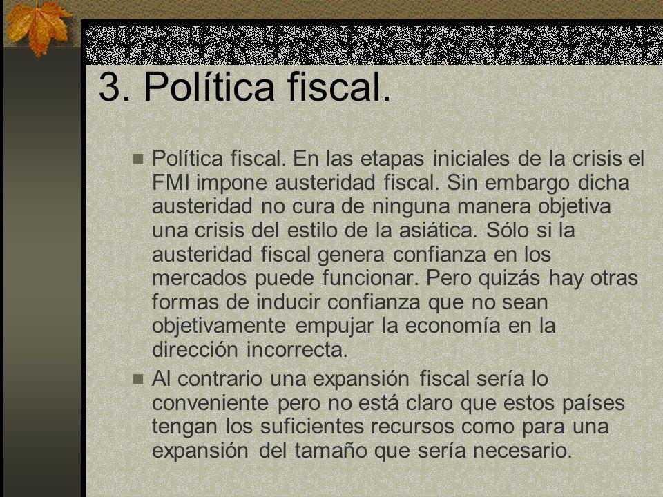 3. Política fiscal. Política fiscal. En las etapas iniciales de la crisis el FMI impone austeridad fiscal. Sin embargo dicha austeridad no cura de nin