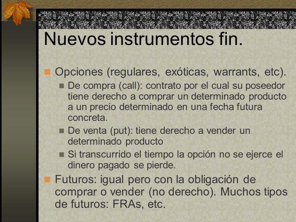Nuevos instrumentos fin. Opciones (regulares, exóticas, warrants, etc). De compra (call): contrato por el cual su poseedor tiene derecho a comprar un