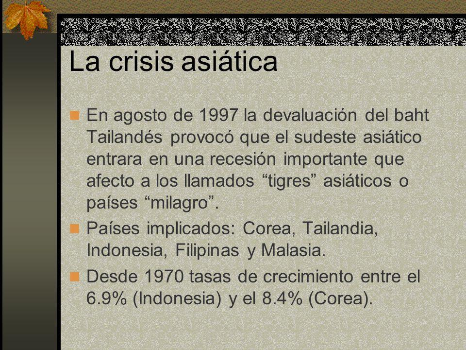 La crisis asiática En agosto de 1997 la devaluación del baht Tailandés provocó que el sudeste asiático entrara en una recesión importante que afecto a