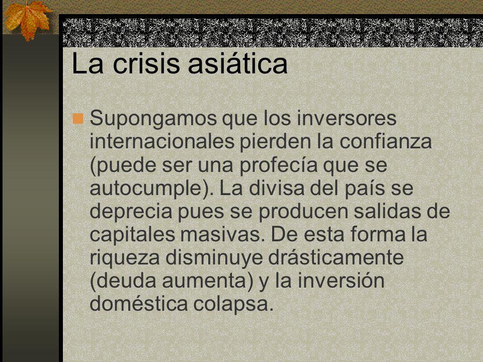 La crisis asiática Supongamos que los inversores internacionales pierden la confianza (puede ser una profecía que se autocumple). La divisa del país s