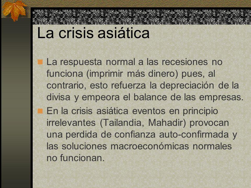 La crisis asiática La respuesta normal a las recesiones no funciona (imprimir más dinero) pues, al contrario, esto refuerza la depreciación de la divi