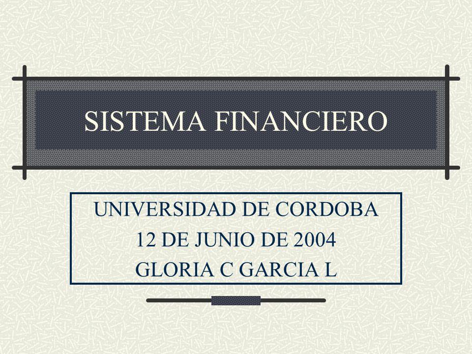 SISTEMA FINANCIERO UNIVERSIDAD DE CORDOBA 12 DE JUNIO DE 2004 GLORIA C GARCIA L