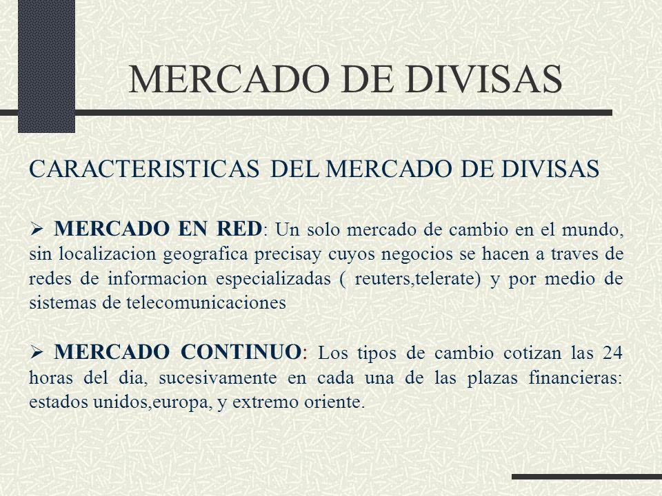 MERCADO DE DIVISAS CARACTERISTICAS DEL MERCADO DE DIVISAS MERCADO EN RED : Un solo mercado de cambio en el mundo, sin localizacion geografica precisay