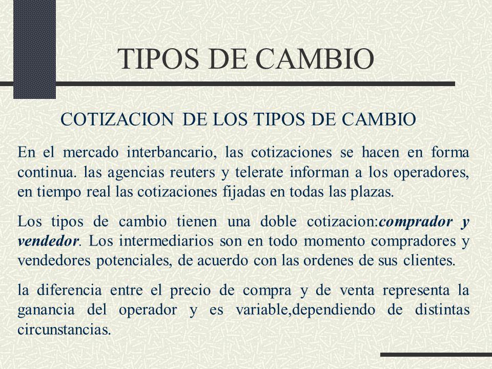TIPOS DE CAMBIO COTIZACION DE LOS TIPOS DE CAMBIO En el mercado interbancario, las cotizaciones se hacen en forma continua. las agencias reuters y tel