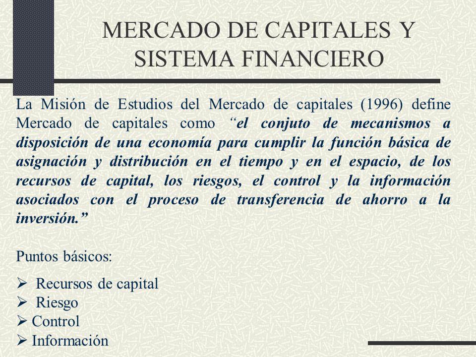MERCADO DE CAPITALES Y SISTEMA FINANCIERO La Misión de Estudios del Mercado de capitales (1996) define Mercado de capitales como el conjuto de mecanis