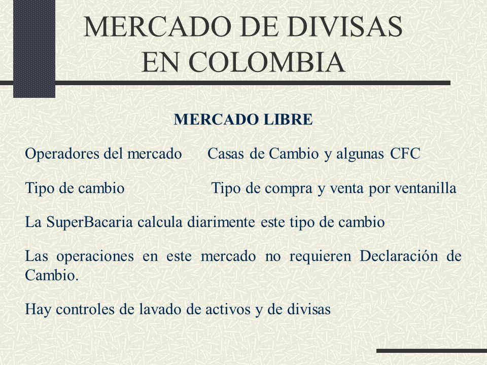 MERCADO DE DIVISAS EN COLOMBIA MERCADO LIBRE Operadores del mercado Casas de Cambio y algunas CFC Tipo de cambio Tipo de compra y venta por ventanilla