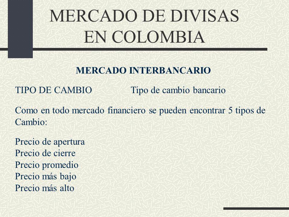 MERCADO DE DIVISAS EN COLOMBIA MERCADO INTERBANCARIO TIPO DE CAMBIOTipo de cambio bancario Como en todo mercado financiero se pueden encontrar 5 tipos