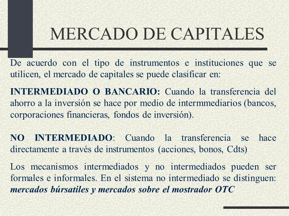 MERCADO DE CAPITALES De acuerdo con el tipo de instrumentos e instituciones que se utilicen, el mercado de capitales se puede clasificar en: INTERMEDI