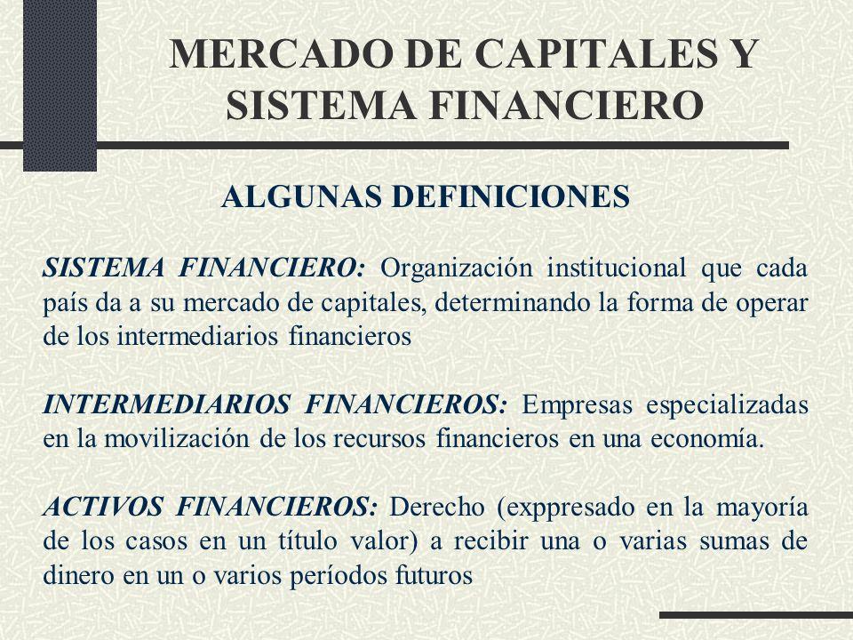 MERCADO DE CAPITALES Y SISTEMA FINANCIERO ALGUNAS DEFINICIONES SISTEMA FINANCIERO: Organización institucional que cada país da a su mercado de capital