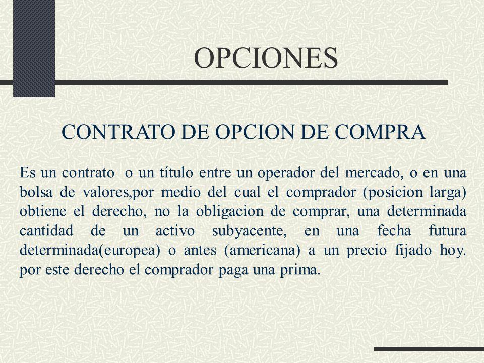 OPCIONES CONTRATO DE OPCION DE COMPRA Es un contrato o un título entre un operador del mercado, o en una bolsa de valores,por medio del cual el compra