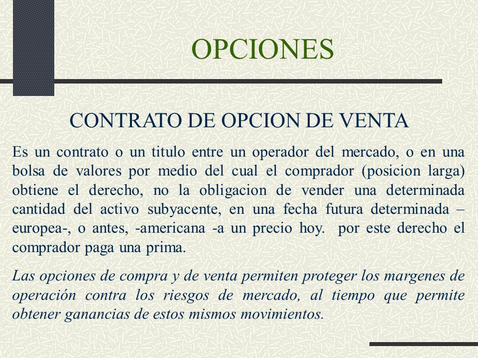 OPCIONES CONTRATO DE OPCION DE VENTA Es un contrato o un titulo entre un operador del mercado, o en una bolsa de valores por medio del cual el comprad