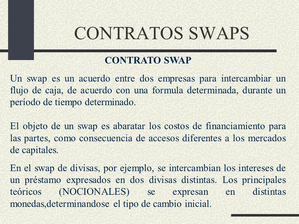 CONTRATOS SWAPS CONTRATO SWAP Un swap es un acuerdo entre dos empresas para intercambiar un flujo de caja, de acuerdo con una formula determinada, dur