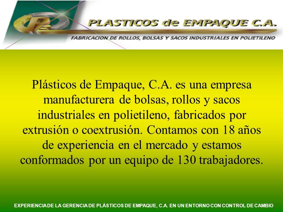 Nuestro mercado se secciona en tres grandes grupos: INDUSTRIALINDUSTRIAL PETROQUÍMICO EXPERIENCIA DE LA GERENCIA DE PLÁSTICOS DE EMPAQUE, C.A.