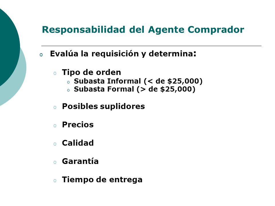 Responsabilidad del Agente Comprador o Evalúa la requisición y determina : o Tipo de orden o Subasta Informal (< de $25,000) o Subasta Formal (> de $2
