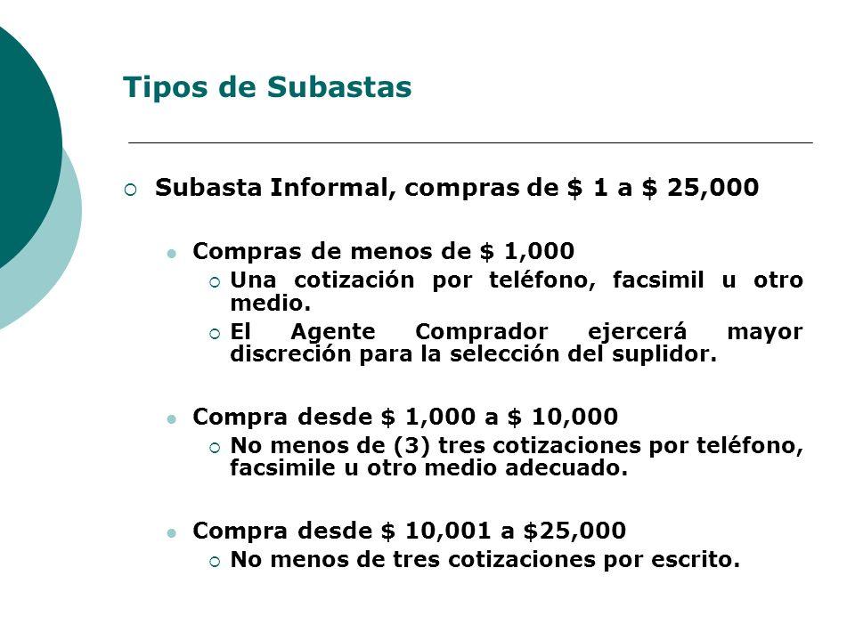 Tipos de Subastas Subasta Informal, compras de $ 1 a $ 25,000 Compras de menos de $ 1,000 Una cotización por teléfono, facsimil u otro medio. El Agent
