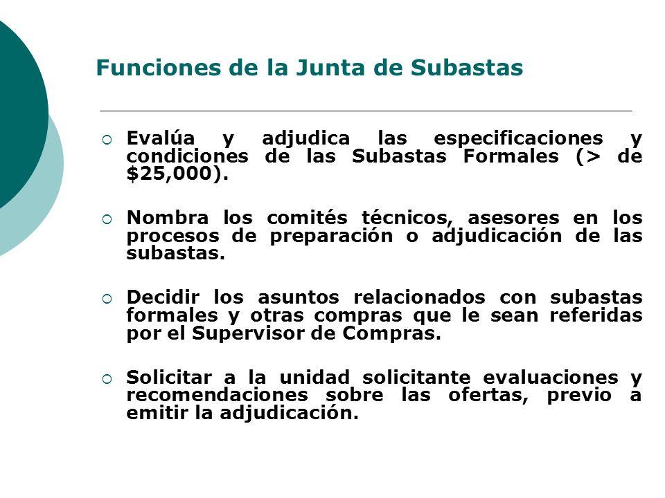 Funciones de la Junta de Subastas Evalúa y adjudica las especificaciones y condiciones de las Subastas Formales (> de $25,000). Nombra los comités téc