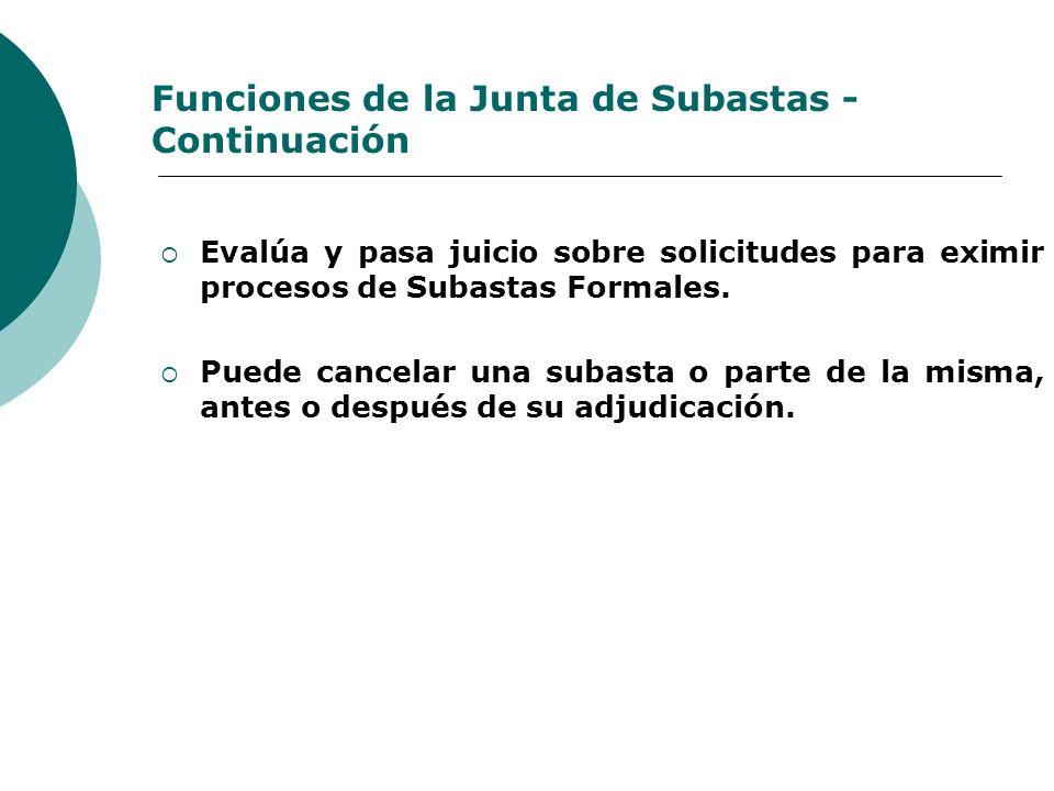 Funciones de la Junta de Subastas - Continuación Evalúa y pasa juicio sobre solicitudes para eximir procesos de Subastas Formales. Puede cancelar una