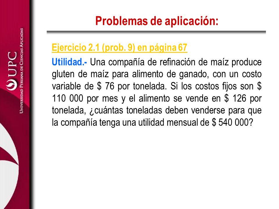 Problemas de aplicación: Ejercicio 2.1 (prob. 9) en página 67 Utilidad.- Una compañía de refinación de maíz produce gluten de maíz para alimento de ga