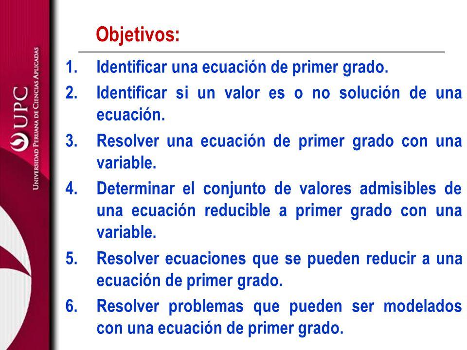 Objetivos: 1.Identificar una ecuación de primer grado. 2.Identificar si un valor es o no solución de una ecuación. 3.Resolver una ecuación de primer g