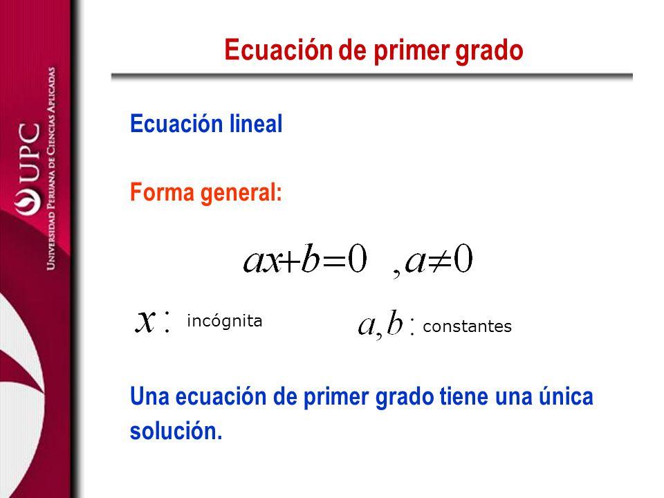 Ecuación de primer grado Ecuación lineal Forma general: Una ecuación de primer grado tiene una única solución. incógnita constantes