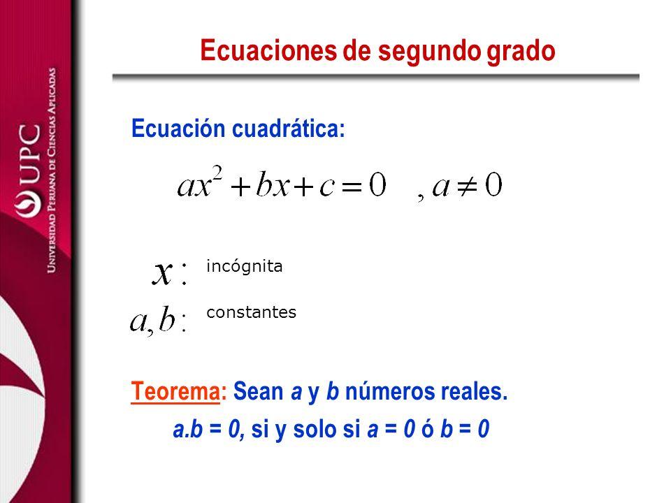 Ecuaciones de segundo grado Ecuación cuadrática: Teorema: Sean a y b números reales. a.b = 0, si y solo si a = 0 ó b = 0 incógnita constantes