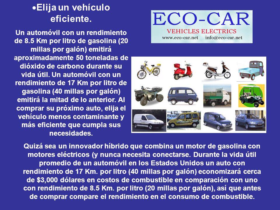 Elija un vehículo eficiente. Un automóvil con un rendimiento de 8.5 Km por litro de gasolina (20 millas por galón) emitirá aproximadamente 50 tonelada