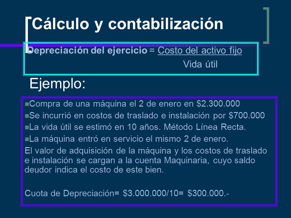 Cálculo y contabilización Depreciación del ejercicio = Costo del activo fijo Vida útil Ejemplo: Compra de una máquina el 2 de enero en $2.300.000 Se i